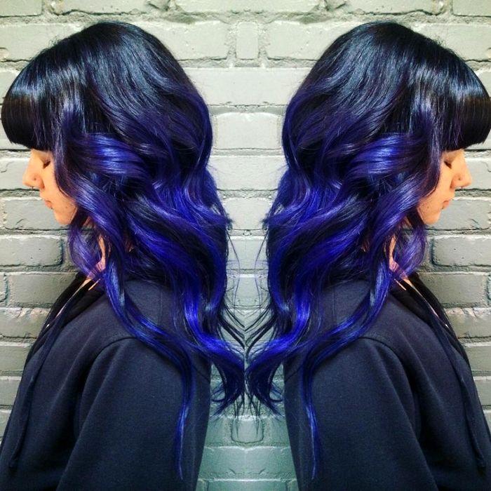 رنگ آبی و مشکی برای موهای سفید